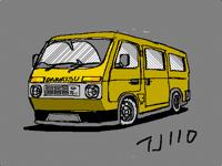 Yellow minivan