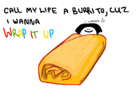 call my life a burrito cuz I wanna wrap it up