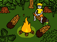 Alone at the campfire