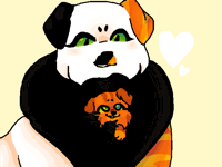 local dog carries puppy inside fluff