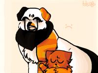 Redstream kinda comforting his sad wife