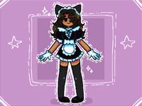 A girl on a cat maid dress