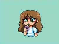 Some girl drinking grape juice