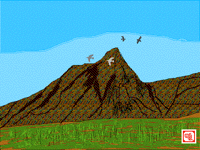 Birds flying over the mountain