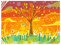 Messy lineless autumn tree