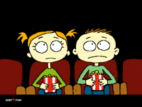 Watching a scary movie