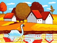 Animated landscape with swan