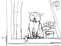 Cat at the window from sketch to color