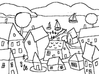 From sketch to color Small town at the seaside