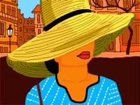 broad-brimmed straw hat