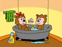 two little bears take a bath