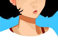 Girl study canvas margin