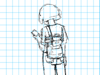 Sketch: Super Cat goes backpacking