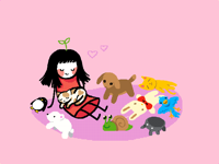 @cottoncloud with her cat and teddies